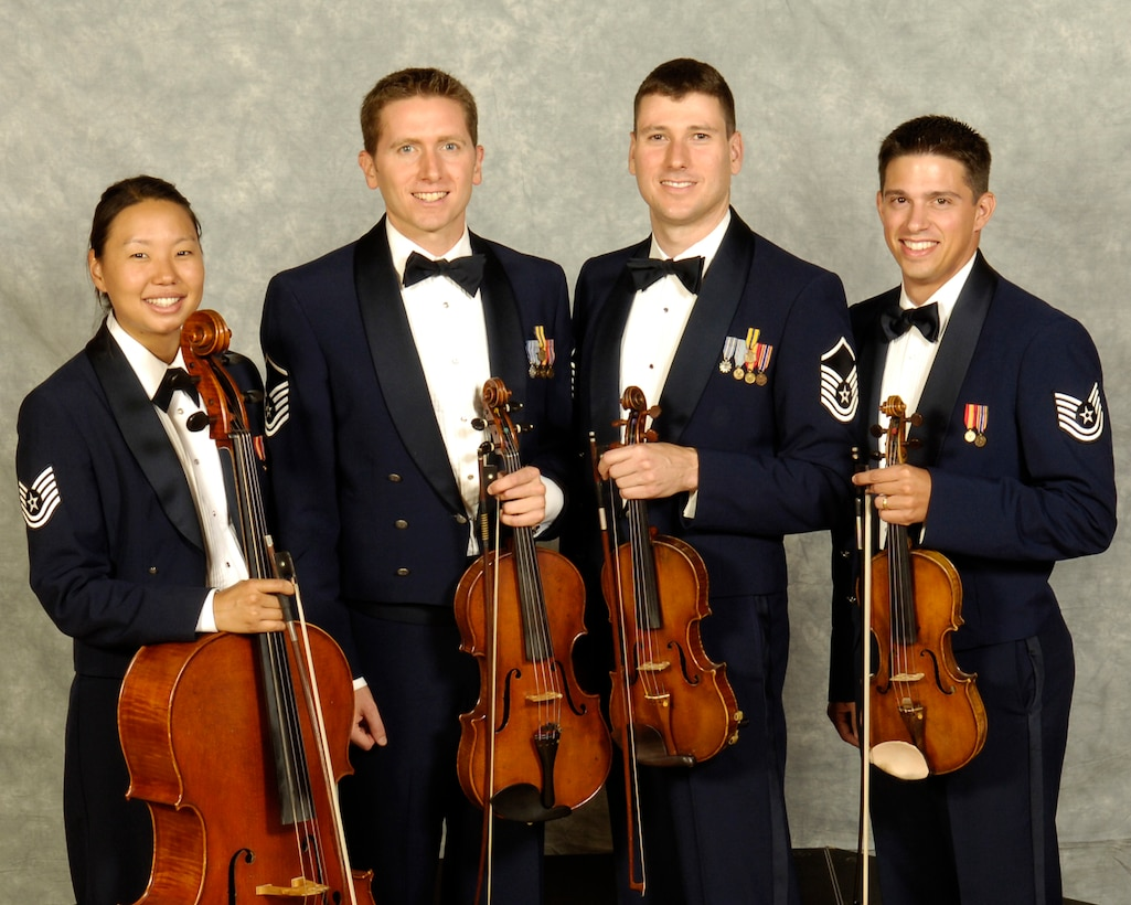The USAF String Quartet is a component of The United States Air Force Band.  Band members of the quartet are (pictured from left to right) Technical Sgt. Christine Choi, Master Sgts. Bryce Bunner and Henry Tyszler, and Technical Sgt. Nathan Wisniewski.