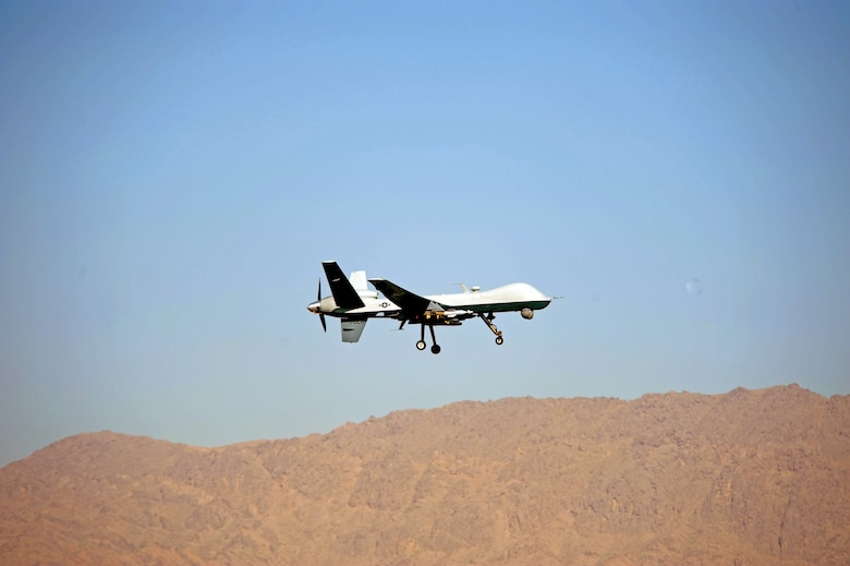 An Air Force MQ-9 Reaper from the 62nd Expeditionary Reconnaissance Squadron takes off March 13 from Kandahar Air Base, Afghanistan, for a mission in support of Operation Enduring Freedom. (U.S. Air Force photo/Staff Sgt. James L. Harper Jr.)