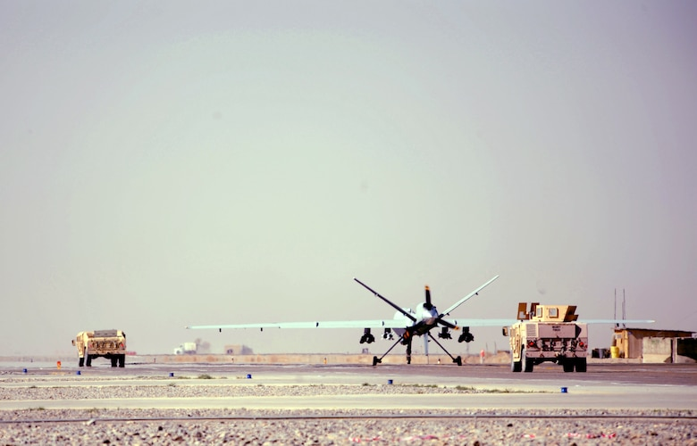 An Air Force MQ-9 Reaper from the 62nd Expeditionary Reconnaissance Squadron taxis for take off March 13 at Kandahar Air Base, Afghanistan, for a mission in support of Operation Enduring Freedom. (U.S. Air Force photo/Staff Sgt. James L. Harper Jr.)