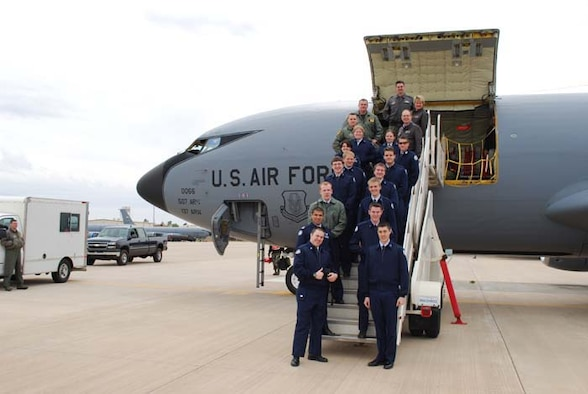 Fourteen AFJrROTC members from Edmond North High School flew aboard a KC-135R Stratotanker aircraft out of Tinker AFB March 25.  The Air Force Reserve's 507th Air Refueling Wing flew the cadets pictured here with their commander Lt. Col Ken Young and the aircrew.