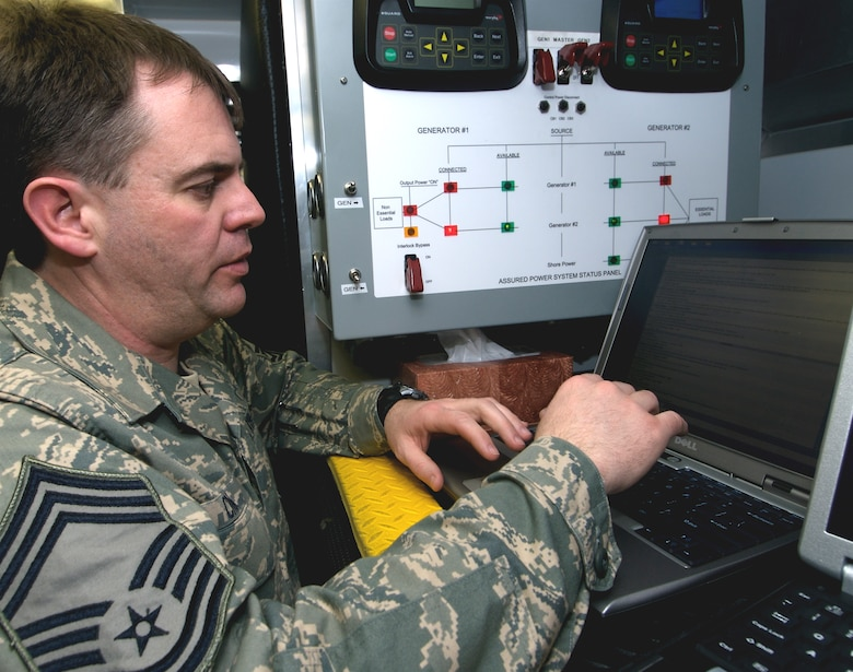 Chief Master Sgt. Matthew Cron, 133rd Communications Flight, Minnesota Air National Guard, operates a state wide military communication system near Moorhead, Minnesota. The Joint Communications Platform (JCP) allows both Army National Guard and Air National Guard members to communicate live with information about 2009 spring flooding. Chief Master Sgt. Cron's hometown is Dussel, MN. U.S. Air Force Photo by Tech Sgt Erik Gudmundson