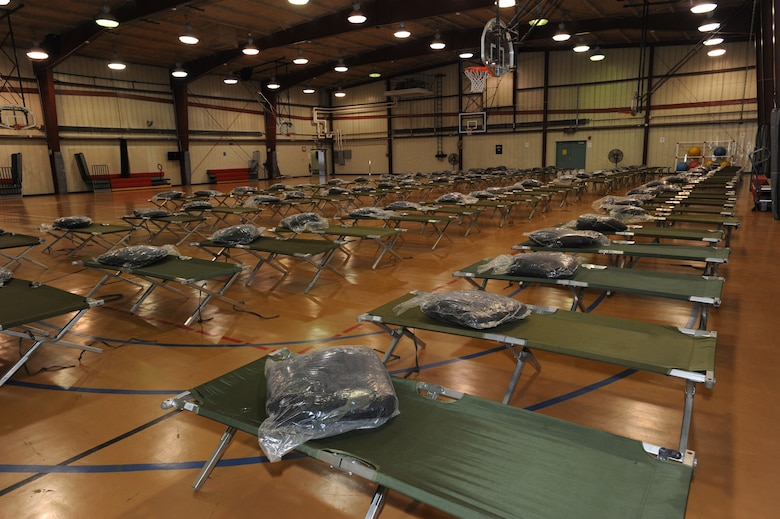 Cots have been set-up in the Grand Forks AFB fitness center in support of the flood beddown operation. (U.S. Air Force photo/Tech. Sgt. Johnny Saldivar)