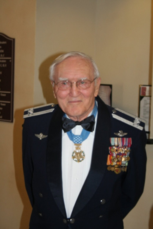 """Retired Col. George """"Bud"""" Day, Medal of Honor recipient and former prisoner of war, poses in Midland, Texas, in 2007 after being inducted into the American Combat Airman Hall of Fame. (Photo courtesy of Joe Caruso)"""