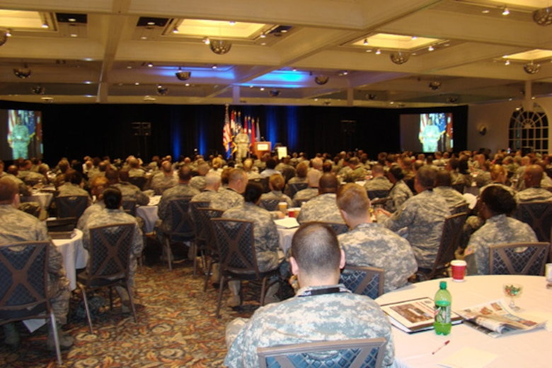 A packed house at the 2009 National Guard Bureau Diversity Conference.  The conference was held in St. Louis March 24-26.  This year's conference drew more than 450 attendees from every state, as well as, from Puerto Rico and the Virgin Islands. (Photo by Lt. Col. James Mohan.)