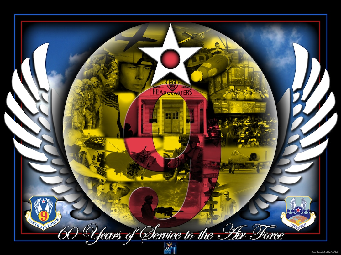 SHAW AIR FORCE BASE, S.C.-- 60th AF Anniversary Poster. (U.S. Air Force Illustration by TSgt Josef Cole)