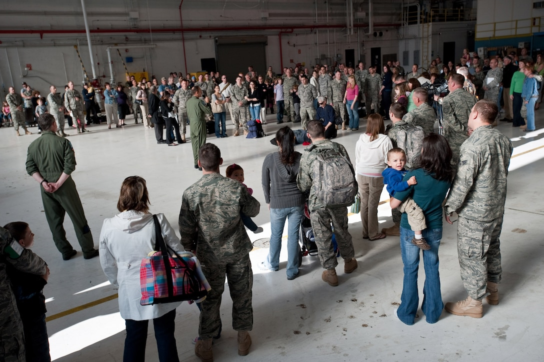 The commander of the 140th Wing, Brig. Gen. Trulan Eyre speaks to Airmen and family members about their up-coming mission to Joint Base Balad, Iraq. More than 200 members of the Colorado Air National Guard are deployed in support of Operation Iraqi Freedom. (U.S. Air Force photo/Master Sgt. John Nimmo, Sr.) (RELEASED)