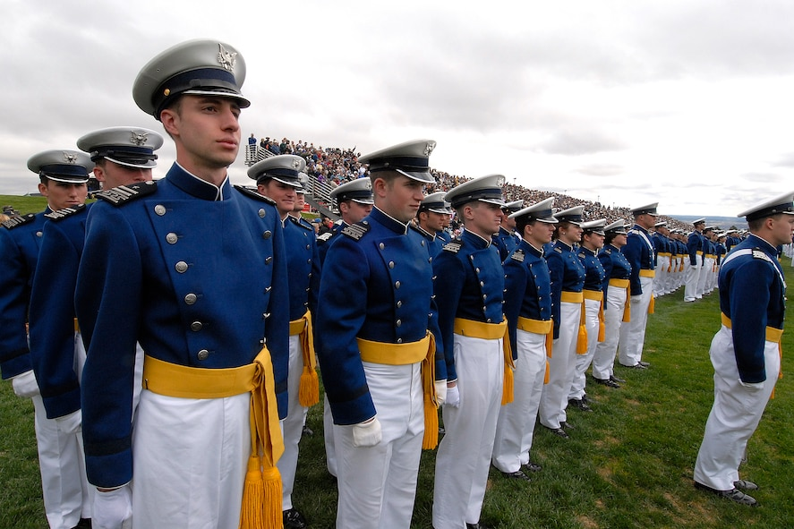 Cadets stand at attention during a graduation parade May 27 at the U.S. Air Force Academy, Colo. Military formation and drill are a regular part of life during a cadet's four-year stay at the Academy. (U.S. Air Force photo)