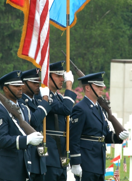LUXEMBOURG CITY, Luxembourg – Airmen of the 52nd Fighter Wing Honor Guard present the colors during a Memorial Day ceremony at the Luxembourg American Cemetery and Memorial May 24, 2008. Memorial Day was officially proclaimed in 1868 and became widespread by 1902. It was named a federal holiday in 1971. (U.S. Air Force photo by Staff Sgt. Logan Tuttle)