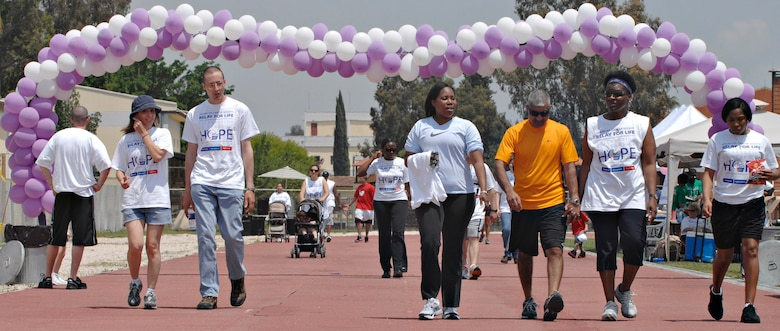 Participants in the Relay for Life walk laps around the Incirlik running track, May 9, 2009. The 2009 Relay for Life was the first relay available to members of the Incirlik community and hosted more than 300 participants from 20 teams, raising more than $9,500. The event lasted 12 hours and included a luminaria ceremony in which participants wrote the names of cancer survivors and victims on more than 100 luminary bags. (U.S. Air Force photo/Senior Airman Benjamin Wilson)