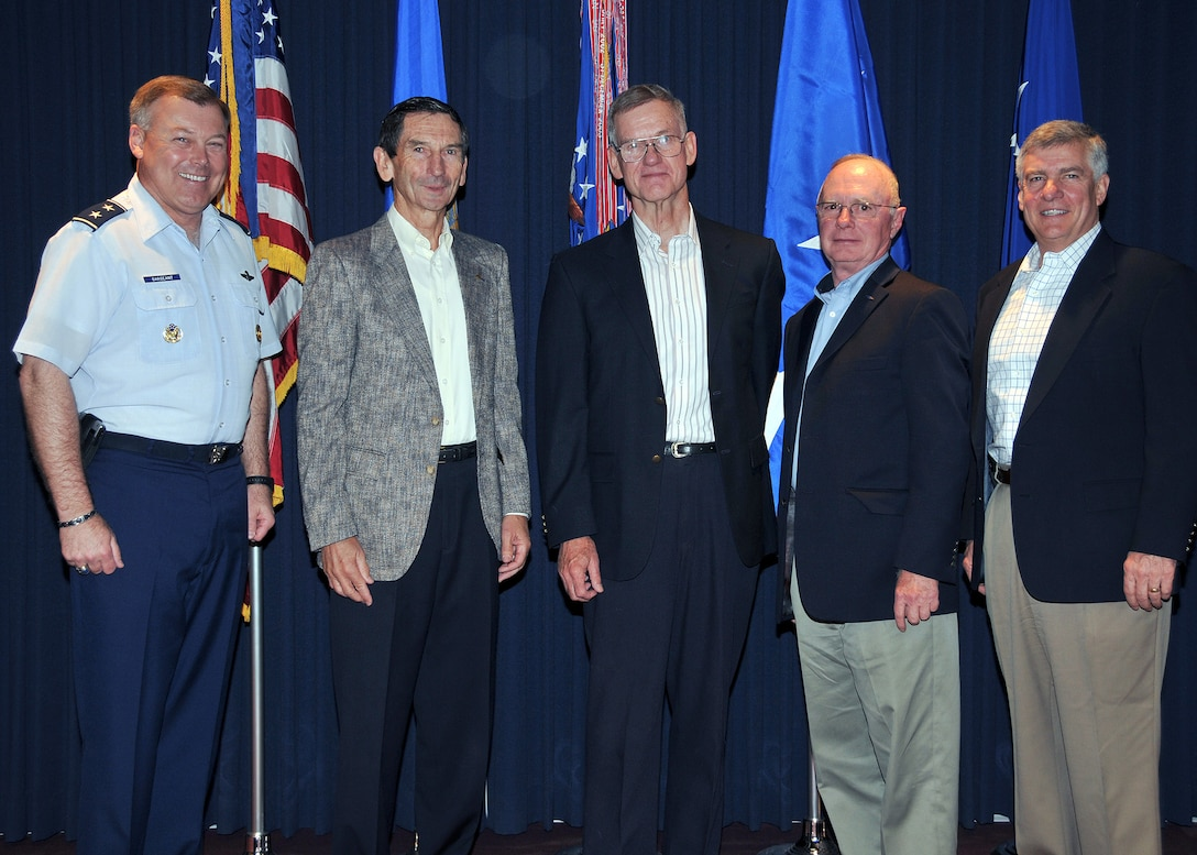 The Air Force Operational Test and Evaluation Center hosted four former AFOTEC commanders May 11-12 at AFOTEC's headquarters at Kirtland Air Force Base, N.M. From left to right: Maj. Gen. Stephen T. Sargeant (current AFOTEC commander); retired Lt. Gen. Marcus Anderson (1991-1993); retired Maj. Gen. Peter Robinson (1990-1991); retired Maj. Gen. George Harrison (1993-1997); and retired Maj. Gen. Felix Dupré (2003-2005).