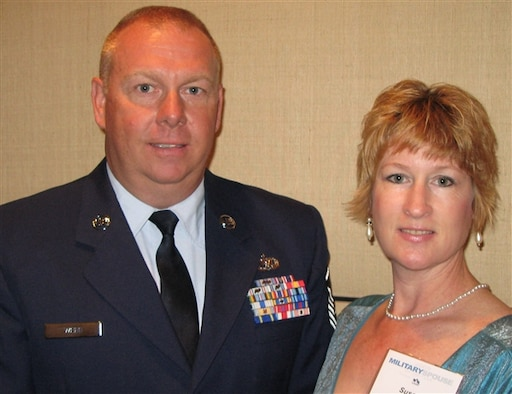 Susan P. Webb, right, and her husband, Air National Guard Master Sgt. Ken Webb, pose for a photograph at the 2009 Military Spouse of the Year awards ceremony in Washington, D.C., May 7, 2009. (DoD photo by Gerry J. Gilmore)