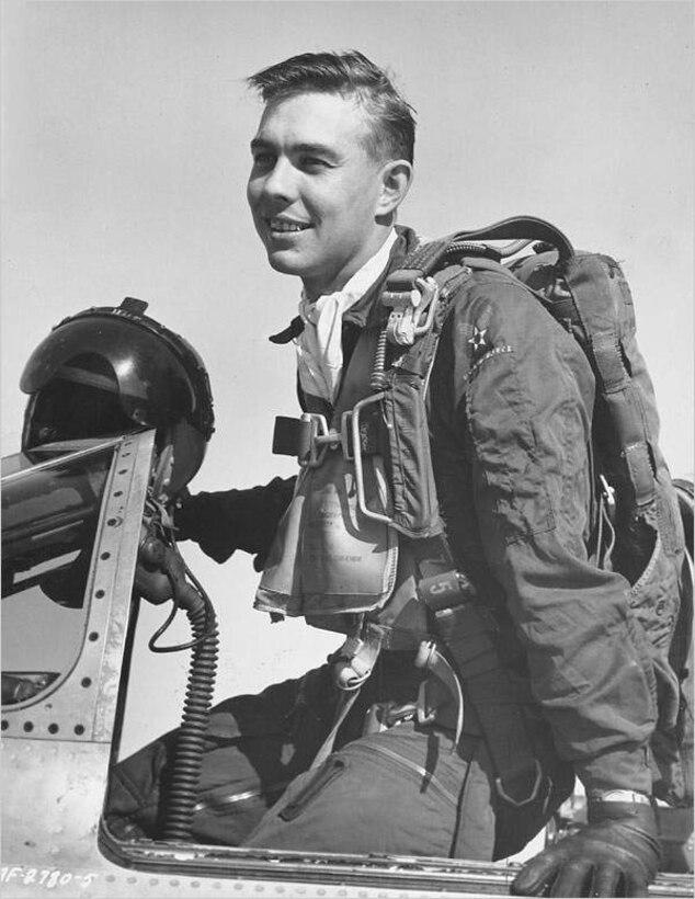 Capt. Harold E. Fischer Jr. returning from a Korean War combat air patrol in 1952.  (U.S. Air Force photo)