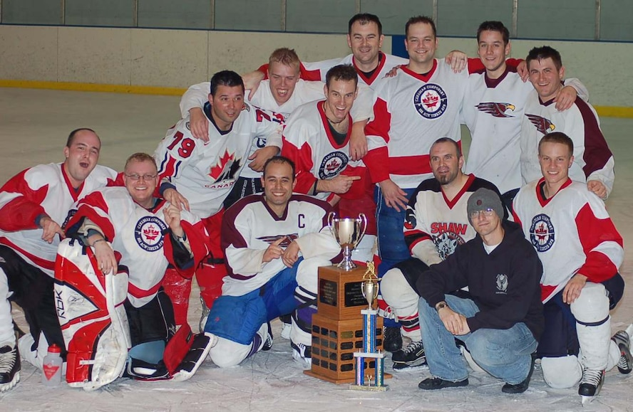 The 552nd Air Control Wing hockey team won the Division 2 championship May 6 at the Arctic Edge Arena in Edmond, Okla. The team was comprised of Canadian and American players from the 552 ACW.