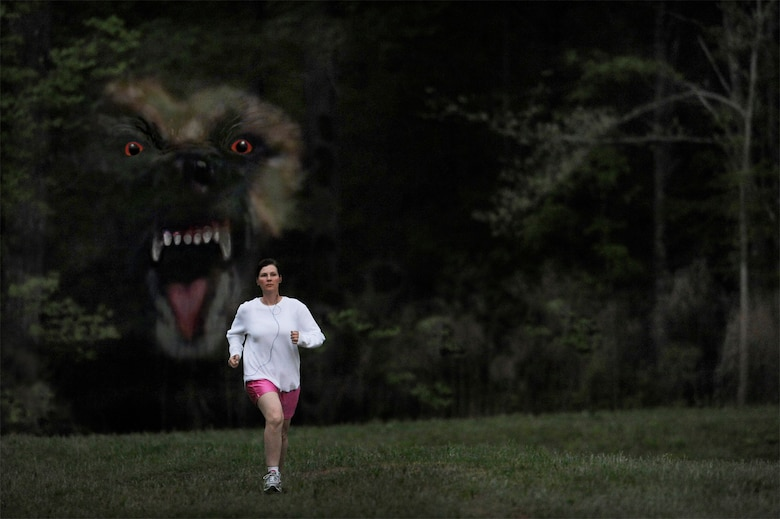 Hunted! War hero mauled by dog — From the darkness, a 100-pound dog took Stacy Pearsall by surprise as she jogged near the woods in her neighborhood while listening to music on her iPod. (photo by Master Sgt. Andy Dunaway - digital composite by Sammie W. King)