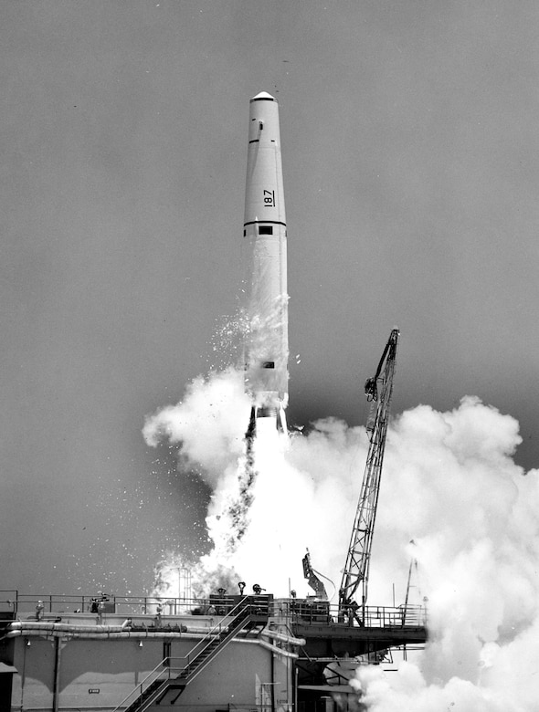 A test Thor takes flight at Cape Canaveral, Fla., on Dec. 5, 1959. The small particles falling away from the rocket are ice formed from frozen condensation on the outside of the chilled liquid oxygen tank. (U.S. Air Force photo)