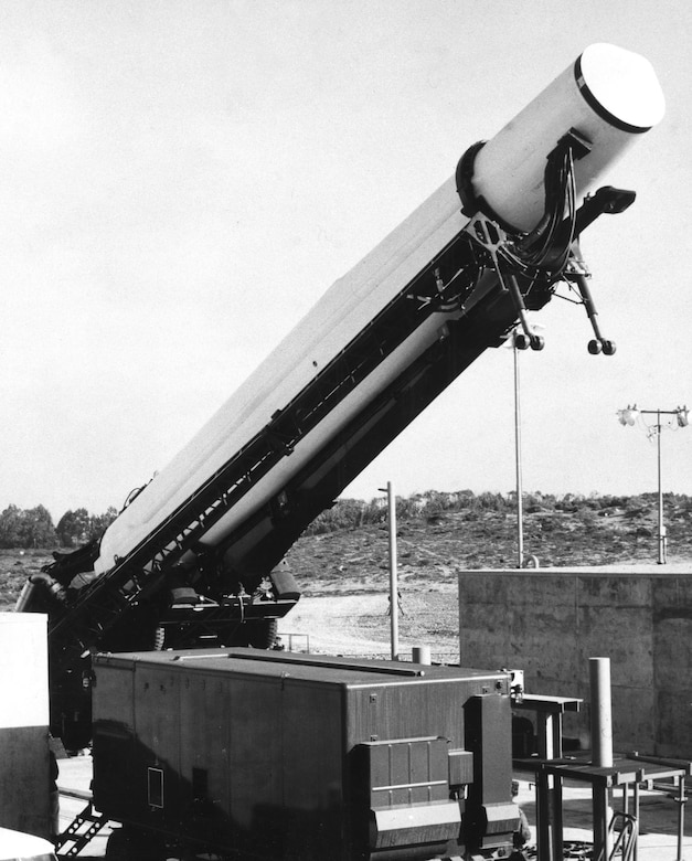 Thors were stored horizontally in covered shelters, and elevated to a vertical position for fueling just before launch. (U.S. Air Force photo)