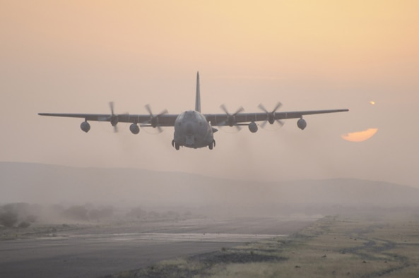 An Air Force Reserve Command HC-130 aircraft lands on an unimproved airstrip in Africa. The 920th Rescue Wing from Patrick Air Force Base, Fla., sent about 100 reservists to Djibouti, Africa, to provide combat search-and-rescue support for two months. The last group of 28 reservists returned to Patrick AFB on May 14, 2009. (U.S. Air Force photo/Master Sgt. Rob Grande)