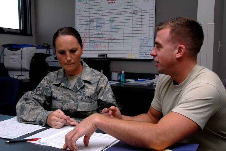 Technical Sgt. Virginia Krauss, a knowledge operations craftsman, and Master Sgt. Aaron Thorenson, an aviation resource management craftsman, both with the 115th Fighter Wing, Madison, Wis., work toghether to file flight plans for the units F-16 pilots.  The 115th Fighter Wing participated in an air-to-air combat skills training exercise April 18 - May 2, 2009 along side their naval counterparts from Strike Fighter Squadron 2 (VFA-2), Naval Air Station Lemoore, Calif., while deployed to Naval Air Station Key West, Fla.  The training missions featured air-to-air and air-to-ground offensive and defensive combat tactics designed to simulate real-world operations.  (U.S. Air Force photo by: Master Sgt. Dan Richardson)