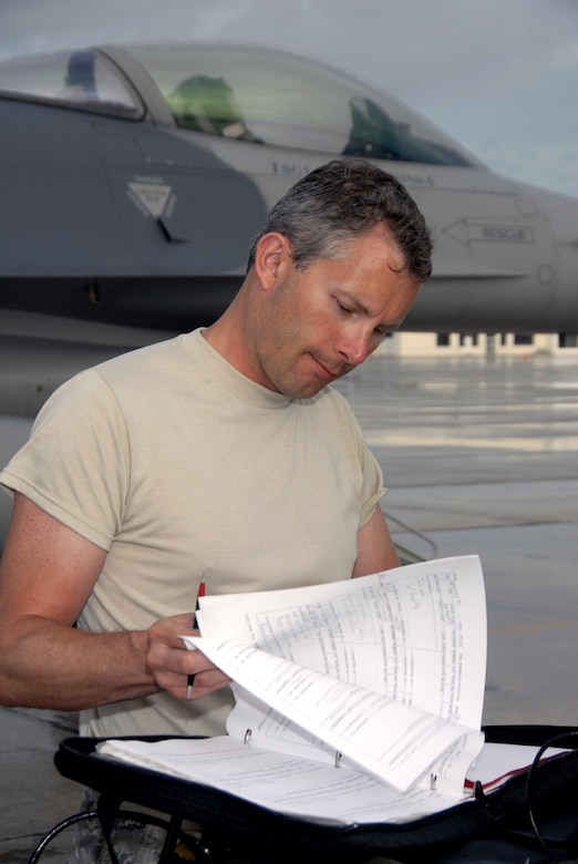 Technical Sgt. Mike Hall, a crew chief with the 115th Fighter Wing, Madison, Wis., documents completed checklist items while preparing one of the units F-16C Fighting Falcons for launch April 30, 2009.  The 115th FW participated in an air-to-air combat skills training exercise April 18 - May 2, 2009 along side their naval counterparts from Strike Fighter Squadron 2 (VFA-2), Naval Air Station Lemoore, Calif., while deployed to Naval Air Station Key West, Fla.  The training missions featured air-to-air and air-to-ground offensive and defensive combat tactics designed to simulate real-world operations.  (U.S. Air Force photo by: Master Sgt. Dan Richardson)