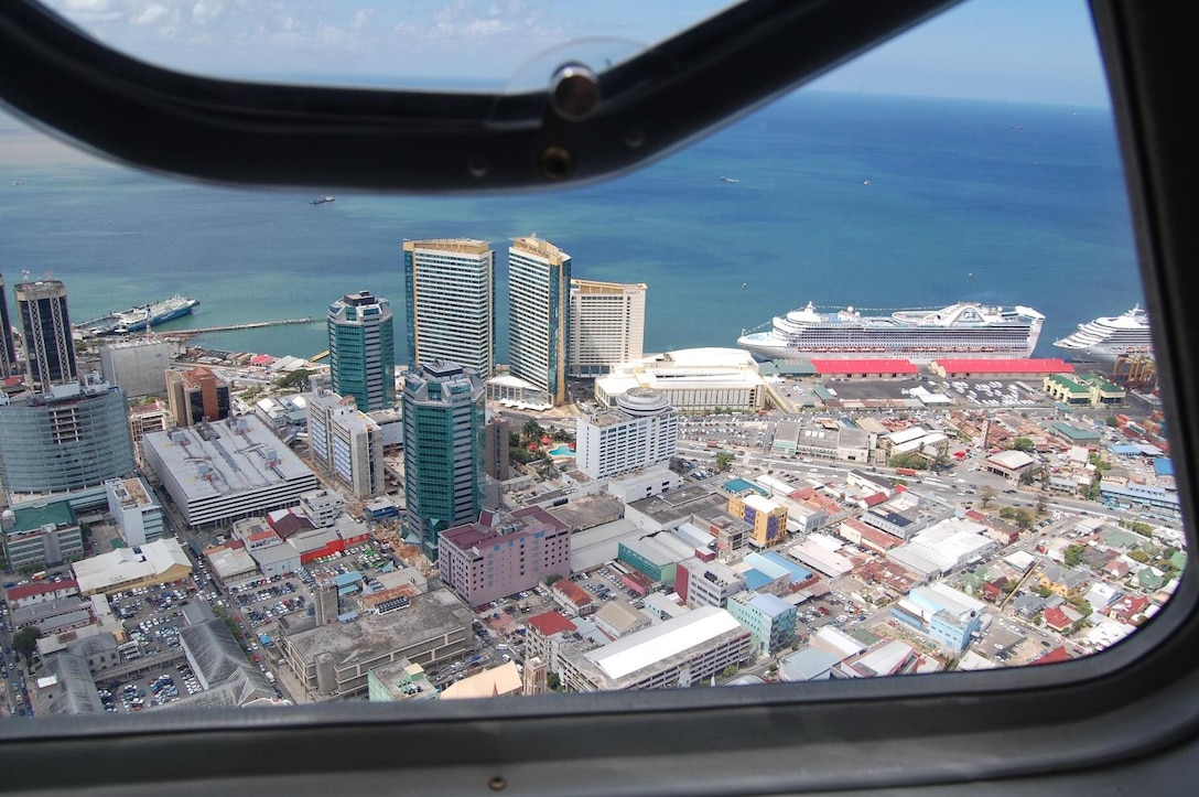 A picture of Port of Spain, Trinidad, taken from a helicopter at 2,000 feet. (US Air Force Photo courtesy of Capt. Jason Rooks)