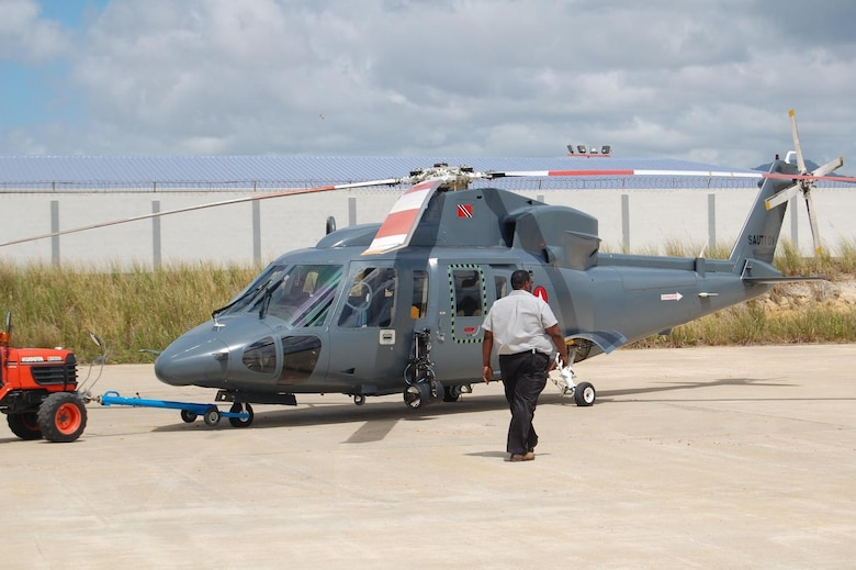 Capt. Jason Rooks, 960 AACS, was escorted around Trinidad in a Special Unit Air Assault Team helicopter with high fidelity optics and sensors. (US Air Force Photo courtesy of Capt. Jason Rooks)