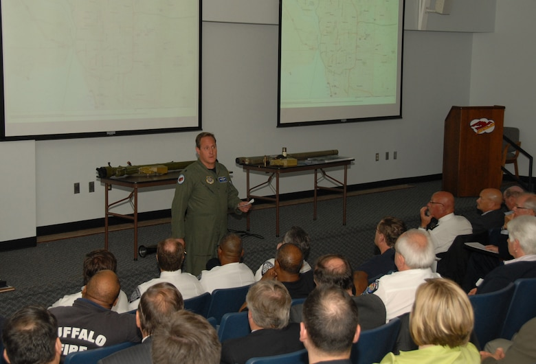 Lt. Col. Dave Durkee was one of numerous subject matter experts that addressed local law enforcement, TSA and emergency responders on arrival and departure routes. The 107th hosted a TSA sponsored MANPADS seminar here May 13. More than 120 participants filled the Ops briefing room to capacity.