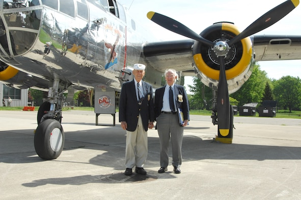 Lt. Col. Richard Cole, USAF (ret.), co-pilot for Lt. Col. Jimmy Doolittle during the Doolittle Raid on Japan, and Col. Carroll Glines, USAF (ret.), Doolittle Raiders historian and author of numerous books on the Air Force, were guest speakers at the Base Community Council meeting at Selfridge Air National Guard Base on May 19.  Michigan's Yankee Air Museum flew in a B-25 Mitchell bomber as a static display for the event that was attended by more than 300 base and community personnel. (USAF photo by John S. Swanson)