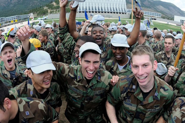 "Class of 2009 cadets celebrate their last day of academic classes after ""taking the hill"" in the Cadet Area of the U.S. Air Force Academy May 8. Graduation is scheduled for May 27. (U.S. Air Force photo/Mike Kaplan)"
