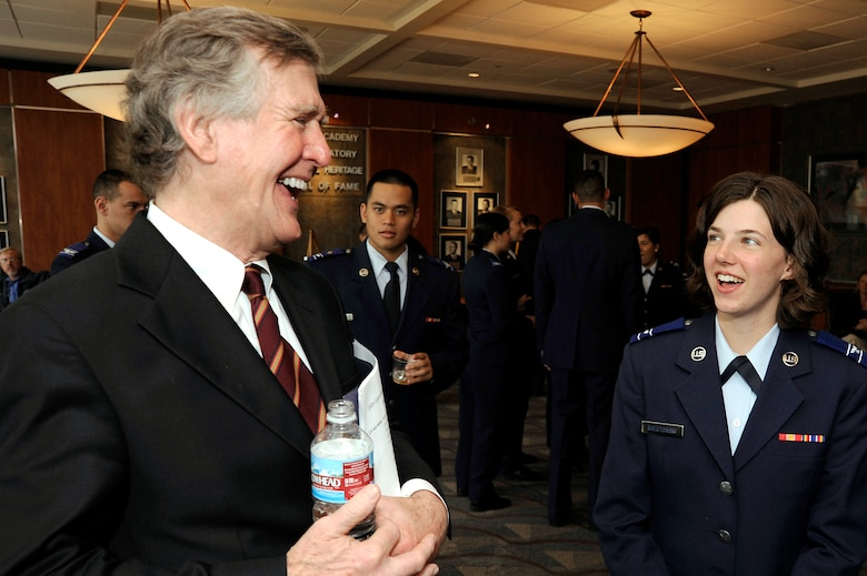 Thomas Boettcher shares stories with cadet candidates during a U.S. Air Force Academy Preparatory School Hall of Fame induction at the Academy April 27. Mr. Boettecher and Marine Lt. Col. Austin Renforth were honored in the ceremony. (U.S. Air Force photo/Mike Kaplan)
