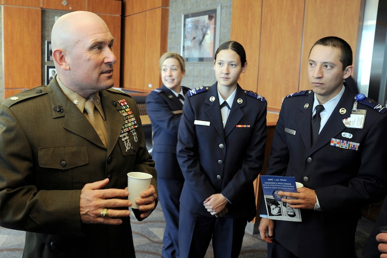 Marine Lt. Col. Austin Renforth visits with cadet candidates at the U.S. Air Force Academy Preparatory School April 27. He and Thomas Boettcher were inducted into the prep school's hall of fame. (U.S. Air Force photo/Mike Kaplan)