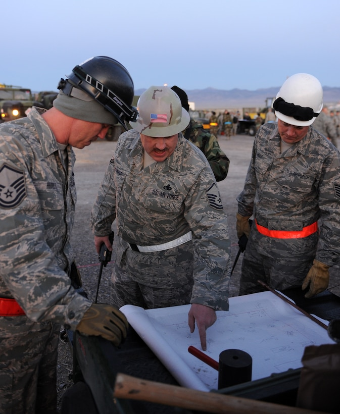 WENDOVER, Utah -- Master Sgt. James MacDonald (center), 726th Air Control Squadron beach master, discusses the layout for the training work site at Wendover, Utah, May 8 during a week-long training exercise. The 726th ACS tackles a wide-spread mission including enemy surveillance and identification, weapons control, joint and combined data-link connectivity, and battle management of offensive and defensive air activities. The squadron is made up of 27 different Air Force career fields, making it self-sustaining and able to deploy and fully operate without external support or help. (U.S. Air Force photo\Airman 1st Class Debbie Lockhart)