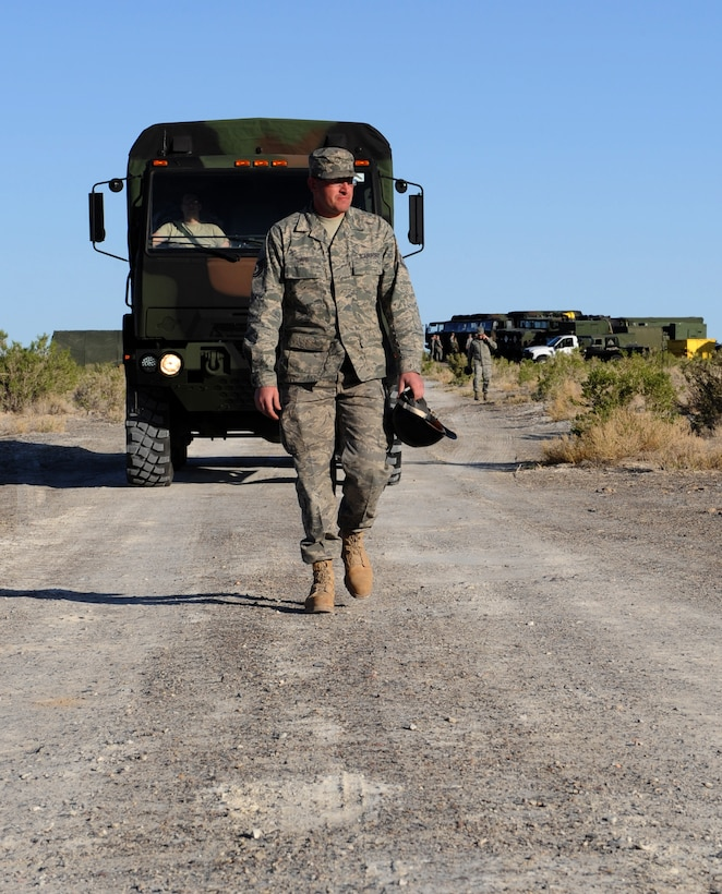WENDOVER, Utah – Tech. Sgt. Corey Davis, 726th Air Control Squadron ground radio systems superintendent, leads a five-ton vehicle to a site at Wendover, Utah, during a week-long exercise May 8. The 726th ACS tackles a wide-spread mission including enemy surveillance and identification, weapons control, joint and combined data-link connectivity, and battle management of offensive and defensive air activities. The squadron is made up of 27 different Air Force career fields, making it self-sustaining and able to deploy and fully operate without external support or help. (U.S. Air Force photo\Airman 1st Class Debbie Lockhart)