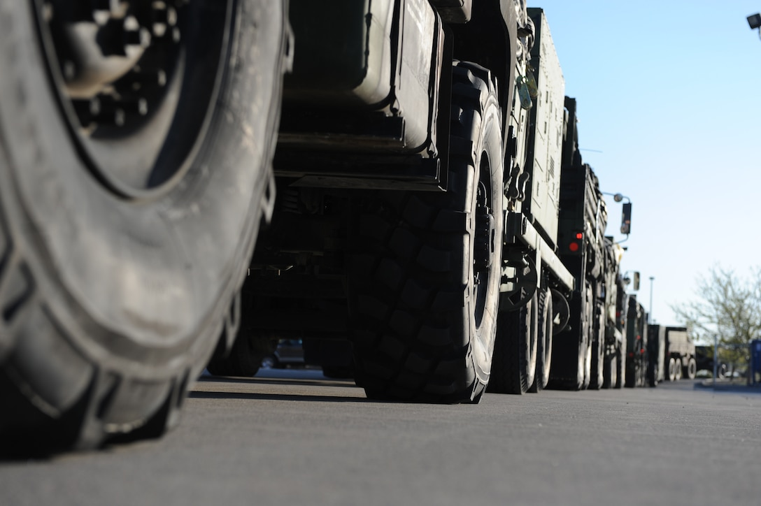 MOUNTAIN HOME AIR FORCE BASE, Idaho -- Convoy vehicles from the 726th Air Control Squadron wait in line for a final quality check before leaving Mountain Home Air Force Base for a week-long training exercise in Wendover, Utah, May 8. The 726th ACS tackles a wide-spread mission including enemy surveillance and identification, weapons control, joint and combined data-link connectivity, and battle management of offensive and defensive air activities. The squadron is made up of 27 different Air Force career fields, making it self-sustaining and able to deploy and fully operate without external support or help. (U.S. Air Force photo\Airman 1st Class Debbie Lockhart)