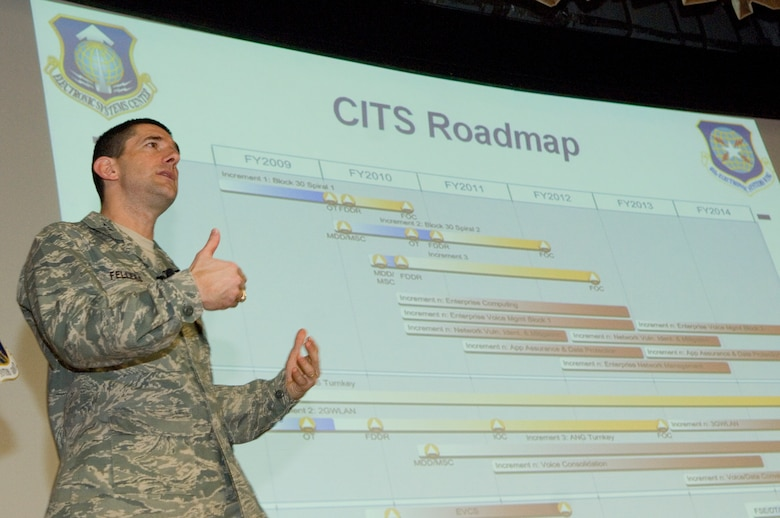 Col. Russ Fellers, program manager for the Air Force's Combat Information Transport System, provides a roadmap for the multi-faceted program to the more than 200 attendees at the May 6 CITS Industry Day at Hanscom Air Force Base, Mass.  (USAF Photo by Mark Wyatt)