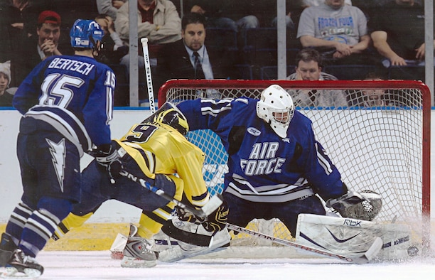 Andrew Volkening makes one of 43 saves against third-ranked Michigan, leading Air Force to a 2-0 victory over the Wolverines in the first game of the NCAA East Regional in Bridgeport, Conn., March 27. Volkening led the Falcons to their first-ever NCAA tournament win and was named to the East Regional all-tournament team. Air Force fell in the regional final to No. 10 Vermont, 3-2, in double overtime March 29. (U.S. Air Force photo/Rich Steiglitz)