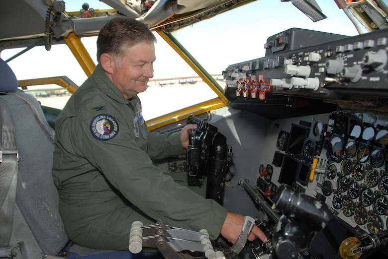 Col. Kelvin Findlay, 151st Air Refueling Wing commander, sits in the cockpit of Utah Air National Guard?s last KC-135 ?E? model on May 21.  The last remaining KC-135E assigned to the wing flew to its final resting place at Hill Air Force Base where it was officially accepted into the Hill Aerospace Museum for public display.  USAF photo by Staff Sgt. Emily Monson (RELEASED)