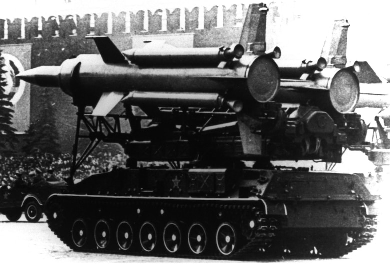 "A Soviet SA-4 Ganef on parade. The Soviet, now Russian, SA-4 (NATO designation ""Ganef"") is a medium to high altitude surface-to-air missile developed in the late 1950s by the Lyulev OKB design bureau. (U.S. Air Force photo)"