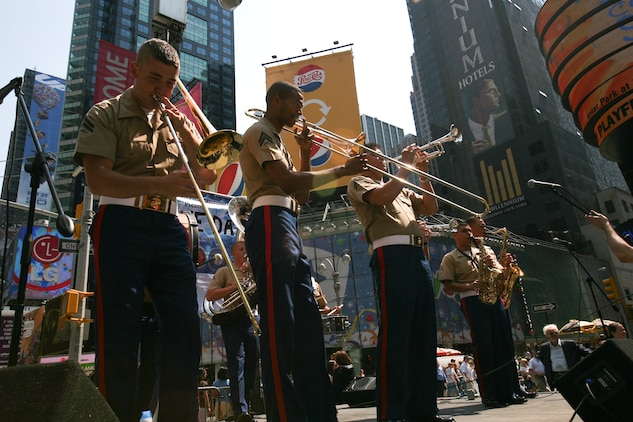Marines from the Marine Corps Forces Reserve Band perform at Marine Day in Times Square, N.Y., May 23. (Official Marine Corps photo by Sgt. Steve Cushman)