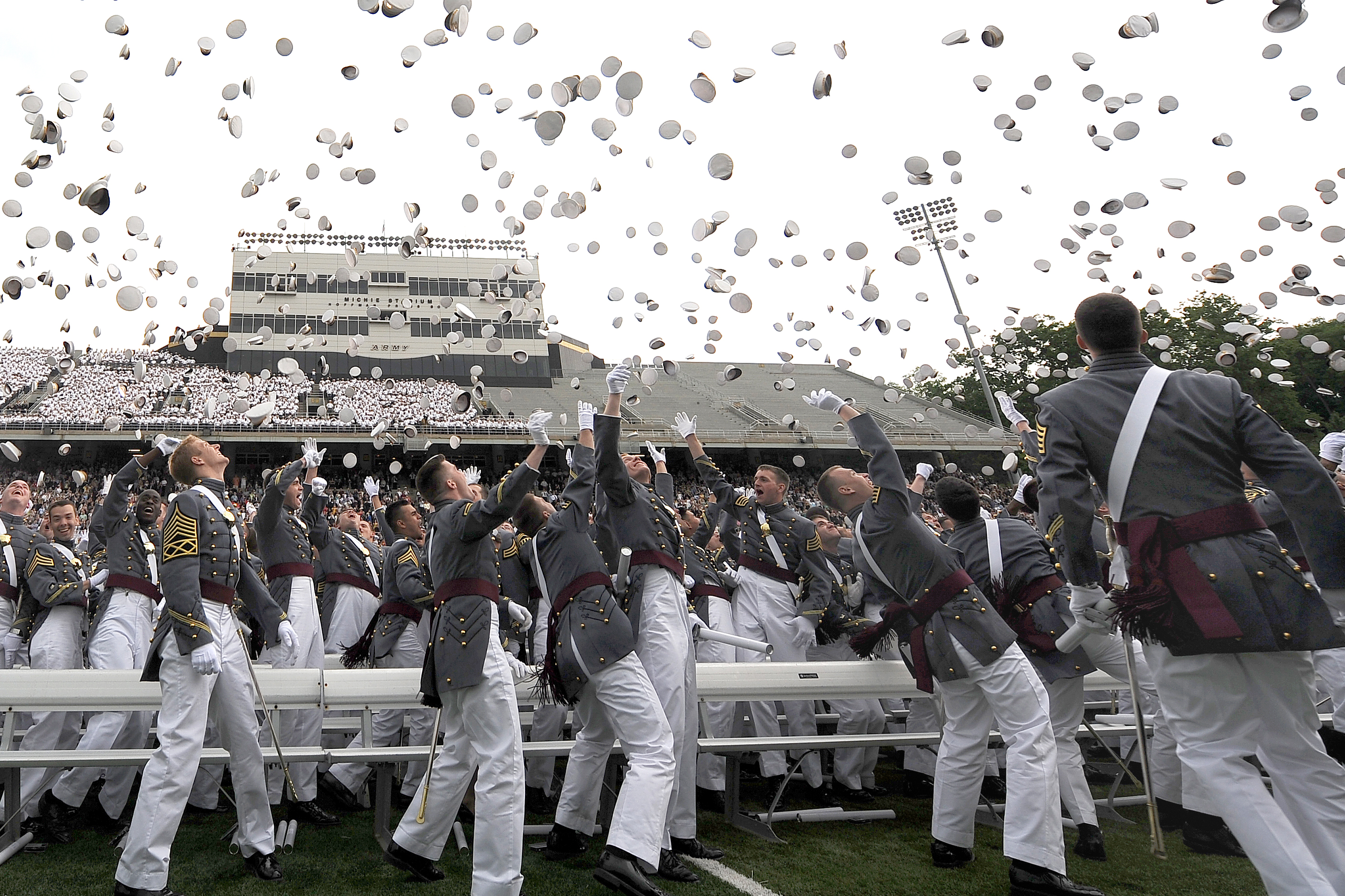 HAT TOSS - U.S. Military Academy graduates toss their hats during  commencement ceremonies at West Point cad668f5037d