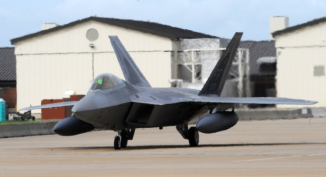 LANGLEY AIR FORCE BASE, Va. – An F-22A Raptor from the 94th Fighter Squadron taxis in preparation for depature to Kadena Air Base, Japan, May 26.  More than 280 Langley Airmen and 12 F-22A Raptors depart this week for their Air Expeditionary Force deployment, which demonstrates the continued U.S. commitment to fulfill its security responsibilities throughout the Western Pacific.  This is the first overseas deployment for the 94th Fighter Squadron since transitioning to the F-22.  (U.S. photo/Senior Airman Zachary Wolf)