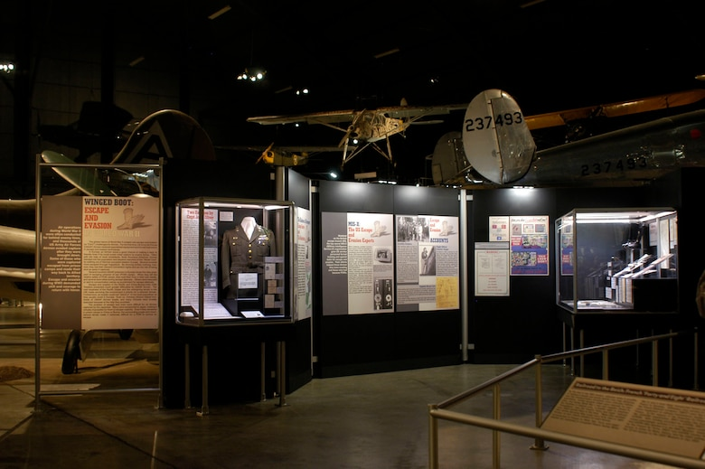 "DAYTON, Ohio - The ""Winged Boot: Escape and Evasion in World War II"" exhibit on display in the World War II Gallery at the National Museum of the U.S. Air Force. (U.S. Air Force photo)"