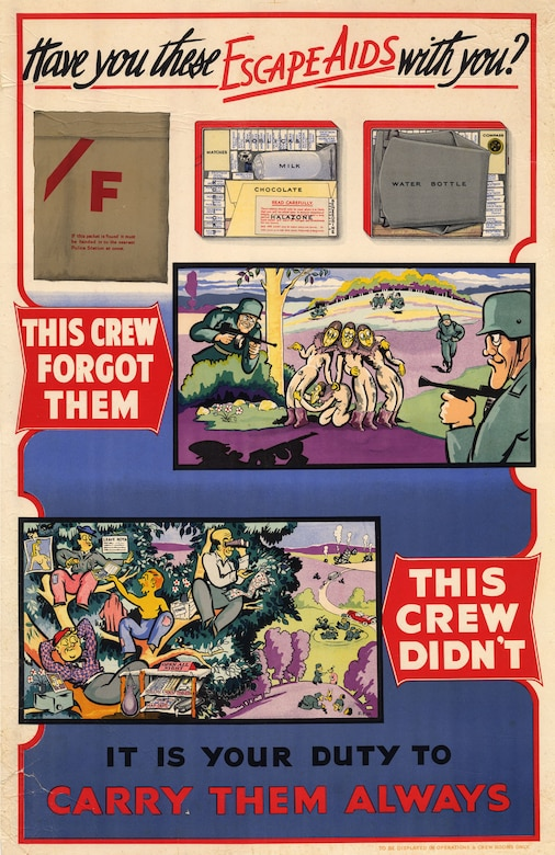 This poster reminds aircrews to bring their E&E aids with them and what could happen if they did not. (U.S. Air Force photo)