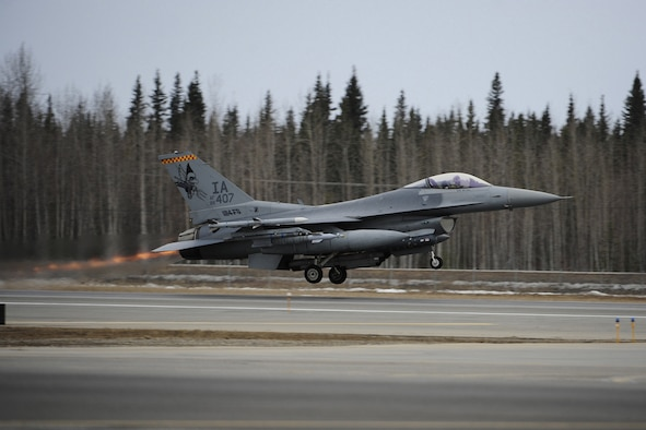 An F-16 C+ launches from Eielson Air Force Base (AFB), Fairbanks, Alaska in support of Red Flag 09-2 on April 23, 2009.  This F-16 C+ is assigned to the 132d Fighter Wing, Des Moines, Iowa and is currently deployed to Eielson AFB for combat readiness training.   (U.S. Air Force photo/Senior Airman Jonathan Snyder)  (Released)