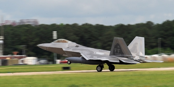 An F-22 Raptor from the 94th Fighter Squadron takes off from Langley Air Force Base, Va., May 26 for Kadena Air Base, Japan. More than 280 Langley AFB Airmen and 12 F-22s departed this week for an air and space expeditionary force deployment, which demonstrates the continued U.S. commitment to fulfill its security responsibilities throughout the Western Pacific. (U.S. Air Force photo/Senior Airman Zachary Wolf)