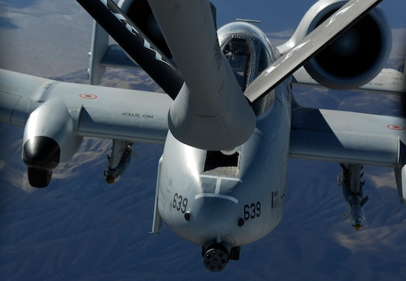 An A-10C Thunderbolt II Warthog with the 188th Fighter Wing prepares to refuel over the Mojave Desert near Nellis Air Force Base, Nev., Oct. 14. The aerial refueling was a small part of training the 188th conducted during a two-week deployment to Green Flag West in preparation for the unit's upcoming Aerospace Expeditionary Force (AEF) rotation in Afghanistan in spring 2010. (U.S. Air Force photo by Capt. Heath Allen/188th Fighter Wing Public Affairs)