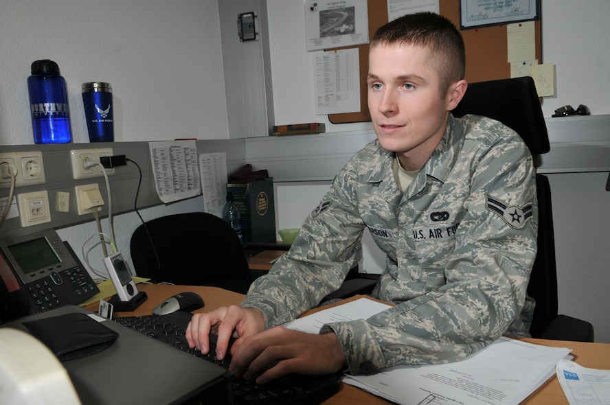 SPANGDAHLEM AIR BASE, Germany -- Airman 1st Class Lars B. Peterson, 52nd Logistics Readiness Squadron, is the 52nd Fighter Wing's Top Saber Performer for the week of Oct. 30 - Nov. 5. (U.S. Air Force photo/Airman 1st Class Nick Wilson)