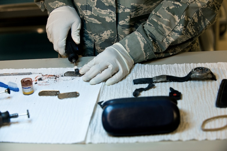 The personal effects section cleans and repairs every personal item that may be returned to the families. (U.S. Air Force photo/Staff Sgt. Bennie J. Davis III)