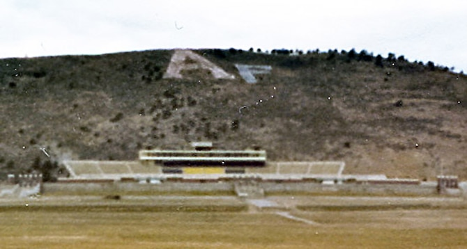 """A group of six to eight Air Force Academy graduates from the Class of 1977 added an """"F"""" to the """"A"""" on the hill above CSU's football stadium in 1979. (U.S. Air Force photo courtesy of Steven Simon)"""