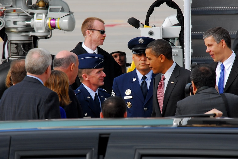 President Barack Obama greets Colonel Joe Brandemuehl (left), Commander of the 115th Fighter Wing after landing at the Air National Guard base in Madison Wis., Nov 4, 2009.  The president was on his way to give a speech at Madison's James Wright middle school about education reform.  President Obama's visit marks the first time that a sitting president has visited the base. (U.S. Air Force Photo by Master Sgt. Dan Richardson)