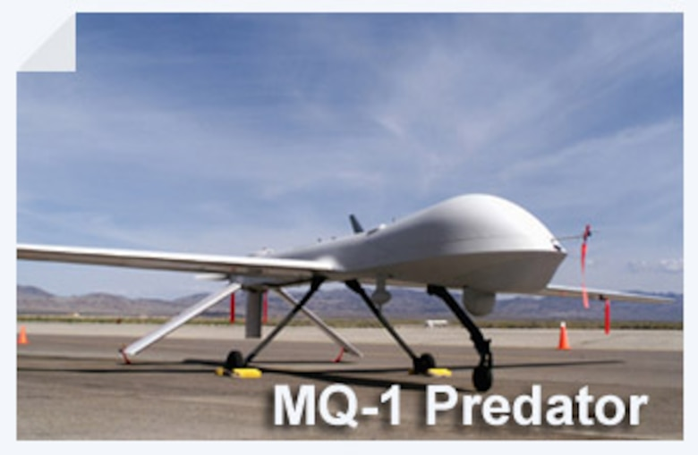 The MQ-1 Predator is a medium-altitude, long-endurance unmanned aircraft system. The fully operational system consists of four air vehicles (with sensors), a ground control station and a Predator primary satellite link communication suite. (U.S. Air Force illustration)